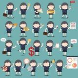 Reeks bedrijfsvrouwenactiviteiten Stock Afbeeldingen