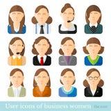 Reeks bedrijfsvrouwenpictogrammen in vlakke stijl Verschillende beroepenleeftijd en stijl Royalty-vrije Stock Foto