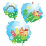 Reeks beelden van de Beeldverhalen fairytale tekening Stock Foto's