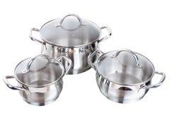 Reeks beelden van keukenwaren. Pan Royalty-vrije Stock Foto's