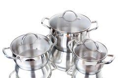 Reeks beelden van keukenwaren. Pan Stock Fotografie