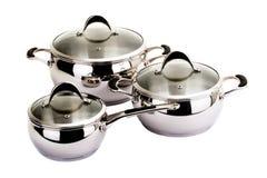 Reeks beelden van keukenwaren. Pan reeks Stock Afbeeldingen