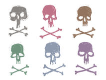 Reeks 6 beelden van schedelszegels stock illustratie