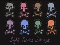 Reeks 8 beelden van schedelszegels vector illustratie