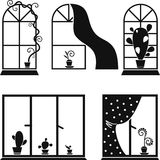 Reeks beelden van vensters met bloemen Stock Afbeelding