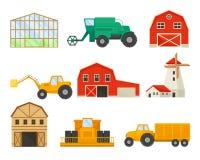 Reeks beelden van vervoer en gebouwen voor landbouw Vector illustratie op witte achtergrond stock illustratie