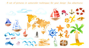 Reeks beelden in waterverftechnieken voor uw ontwerp Overzeese advertentie stock illustratie