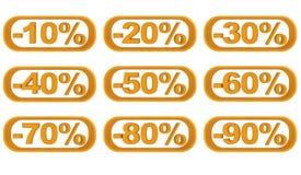 Reeks beeldenkortingen van tien tot negentig percenten royalty-vrije stock afbeelding