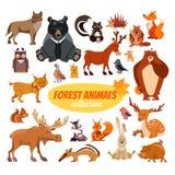 Reeks beeldverhaal bosdieren Stock Afbeeldingen