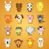 Reeks beeldverhaal dierlijke karakters Royalty-vrije Stock Afbeelding