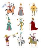 Reeks beeldverhaal middeleeuwse karakters op witte achtergrond stock illustratie