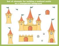 Reeks beeldverhaalelementen voor de bouw van een fee middeleeuws kasteel op een transparante achtergrond stock illustratie