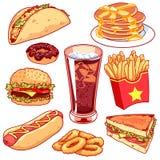 Reeks beeldverhaalfast-food pictogrammen op witte achtergrond Stock Illustratie