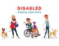Reeks beeldverhaalillustraties van gehandicapte mensen geïsoleerd op wit royalty-vrije illustratie