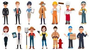 Reeks beeldverhaalkarakters met diverse beroepen vector illustratie