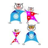 Reeks beeldverhaalkatten in grappige combos op een witte achtergrond Stock Afbeelding