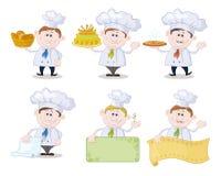 Reeks beeldverhaalkoks, chef-koks vector illustratie