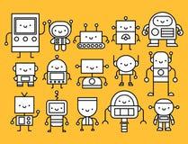Reeks Beeldverhaalrobots op Witte Achtergrond royalty-vrije illustratie