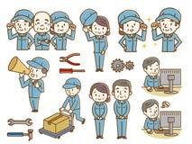 Reeks bejaarden en vrouwen met het werkkleren vector illustratie