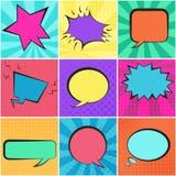Reeks bellen van de kleuren retro toespraak met achtergronden Stock Foto's