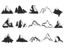 Reeks bergpictogrammen Royalty-vrije Stock Afbeelding