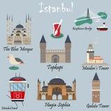 Reeks beroemde bestemmingen van Istanboel vector illustratie