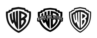 Reeks beroemde emblemen van filmstudio's royalty-vrije stock afbeeldingen
