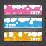 Reeks Bevlekte Horizontale Nieuwjaarkopballen of Banners - 2019 stock afbeeldingen