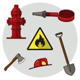 Reeks bij de brandweer Voorwerpen op een witte achtergrond Royalty-vrije Stock Foto's
