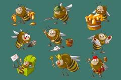 Reeks bijenillustraties Stock Foto