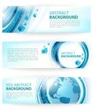 Reeks blauwe abstracte ecobanners Royalty-vrije Stock Afbeelding