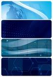 Reeks blauwe abstracte horizontale achtergronden Stock Afbeeldingen