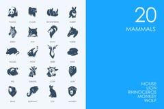 Reeks BLAUWE de zoogdierenpictogrammen van de HAMSTERbibliotheek stock illustratie