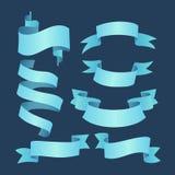 Reeks blauwe elegante linten Stock Afbeeldingen