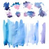 Reeks blauwe en bruine vlekken De illustratie van de waterverf Vector royalty-vrije stock fotografie