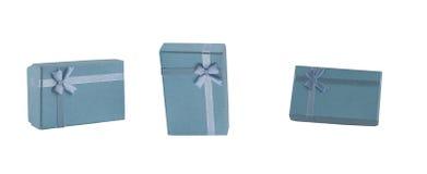 Reeks blauwe giftdozen met bogen en linten Beeldfoto Royalty-vrije Stock Foto