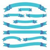 Reeks blauwe heldere linten en banners op witte achtergrond Vector illustratie Stock Afbeeldingen