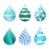 Reeks blauwe heldere verschillende pictogrammen van de waterdaling Royalty-vrije Stock Afbeeldingen