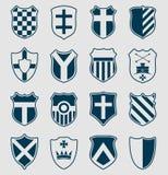 Reeks blauwe heraldische schilden Royalty-vrije Stock Foto's