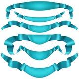 Reeks blauwe lintbanners op witte achtergrond EPS 10 vector Royalty-vrije Stock Afbeeldingen