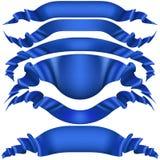 Reeks blauwe lintbanners op witte achtergrond EPS 10 vector Stock Afbeeldingen