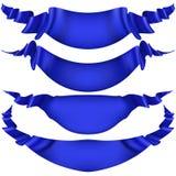 Reeks blauwe lintbanners op witte achtergrond EPS 10 vector Stock Afbeelding