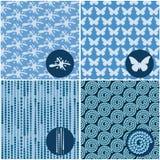 Reeks blauwe naadloze patronen Stock Afbeeldingen