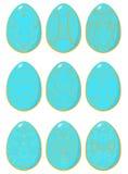 Reeks blauwe paaseieren met geel patroon Royalty-vrije Stock Afbeeldingen