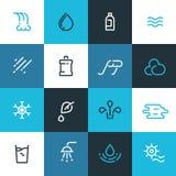 Reeks blauwe pictogrammen van de waterlijn Vectorwaterelementen Stock Illustratie