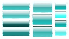 Reeks blauwe rechthoekige en vierkante glas transparante heldere mooie vectorknopen van verschillende schaduwen met een zilverach stock illustratie