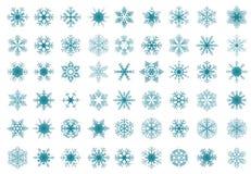 Reeks blauwe sneeuwvlokken Stock Afbeeldingen
