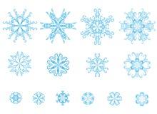 Reeks blauwe sneeuwvlokken Royalty-vrije Stock Foto's