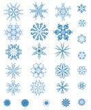 Reeks blauwe sneeuwvlokken Stock Foto