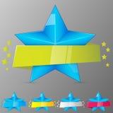 Reeks blauwe sterren met linten Inzameling voor spel, banner, app, ui Vector illustratie Stock Fotografie